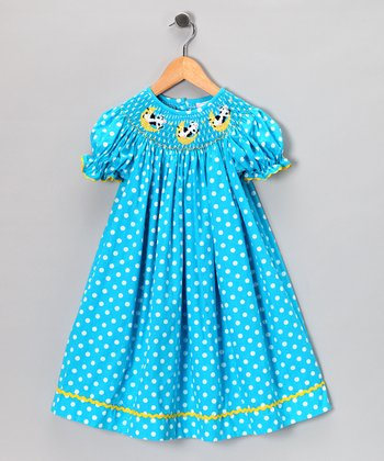Blue Polka Dot Bishop Dress - Infant, Toddler & Girls