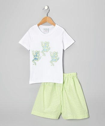 White Frog Tee & Lime Stripe Shorts - Toddler & Boys