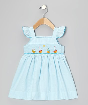 Blue Boat Babydoll Dress - Infant & Girls
