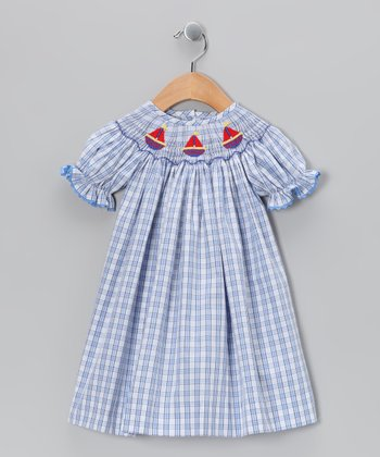 Blue Sailing Bishop Dress - Infant