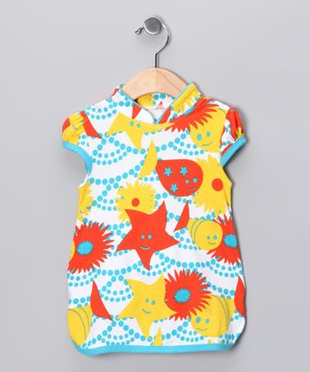 Shinobi Baby Blue & Yellow Organic Mandarin Dress - Infant
