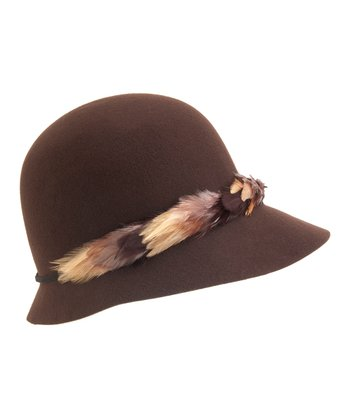 Brown Heather-Brim Wool Cloche