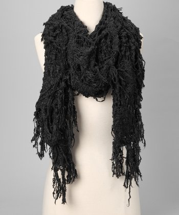 Shiraleah Black Lacy Scarf
