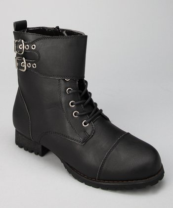 Black Double Buckle Lace-Up Boot