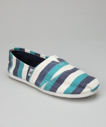 Aqua Stripe Slip-On Shoe