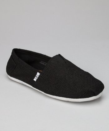 Black Textured Slip-On Shoe