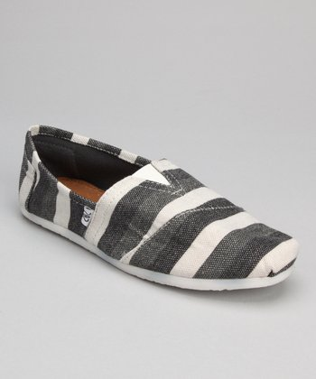 Gray Stripe Slip-On Shoe