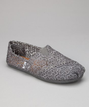 Gray Crocheted Slip-On Shoe
