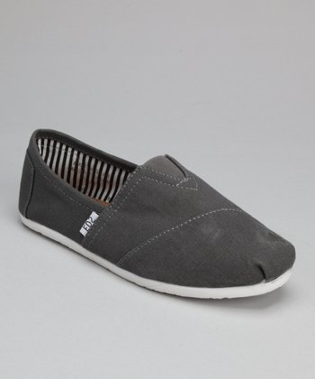 Gray Canvas Slip-On Shoe