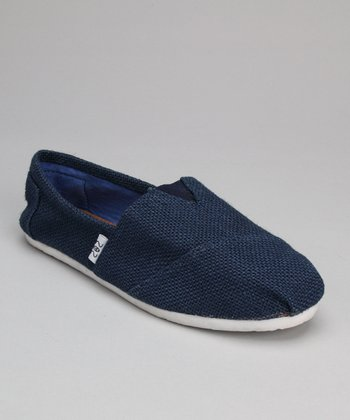 Navy Textured Slip-On Shoe
