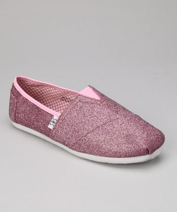 Dark Pink Glitter Slip-On Shoe