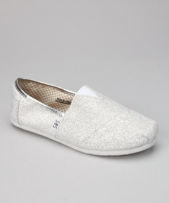 Silver & White Glitter Slip-On Shoe