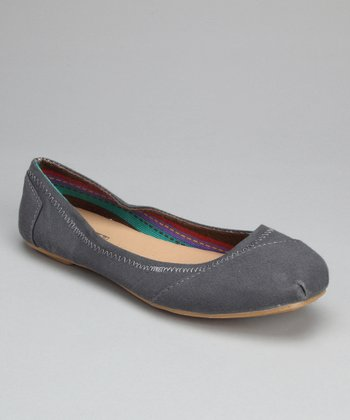 Gray Canvas Ballet Flat