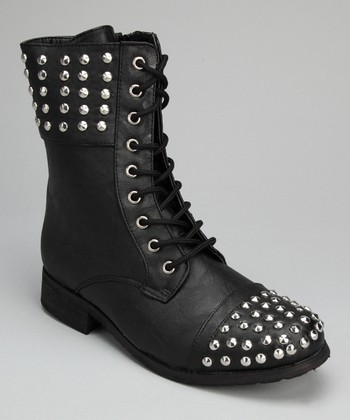 Black & Silver Stud Boot