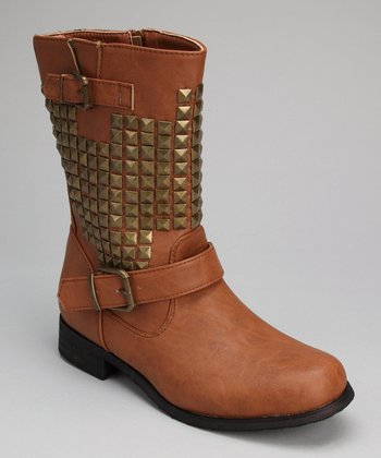 Tan Stud Double Buckle Boot