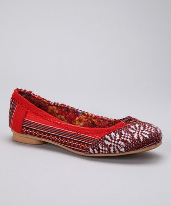 Red Stripe Ballet Flat