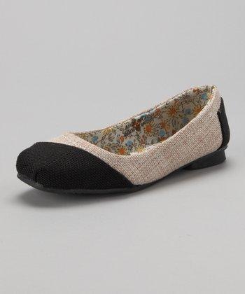 Beige & Black Burlap Ballet Flat