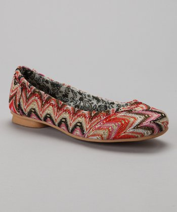 Red Swirl Net Ballet Flat