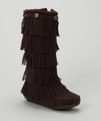 Brown Tiered Fringe Boot
