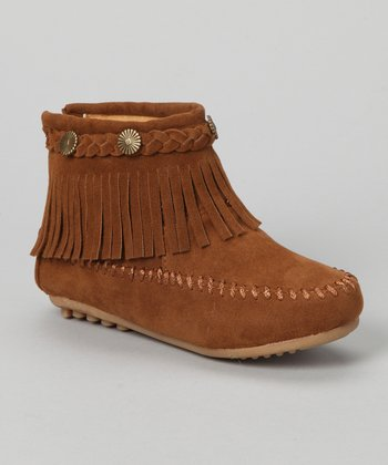 Tan Fringe Ankle Boot