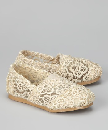 Cream Crocheted Slip-On Shoe