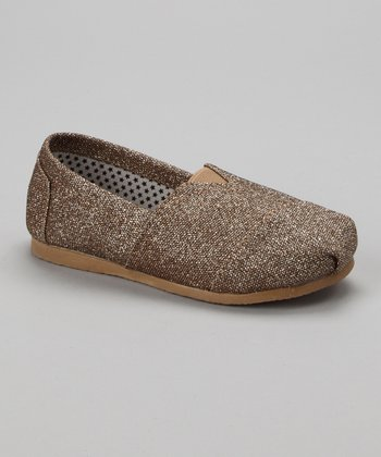 Gold Glitter Slip-On Shoe