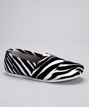 Black Zebra Slip-On Shoe
