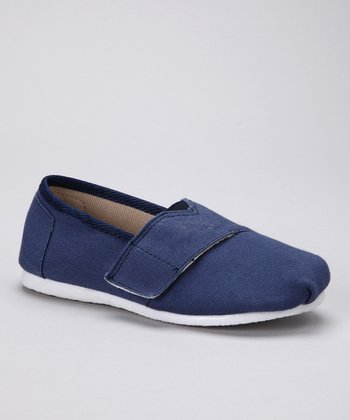 Navy Canvas Adjustable Slip-On Shoe