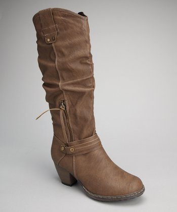 Taupe Zipper Boot