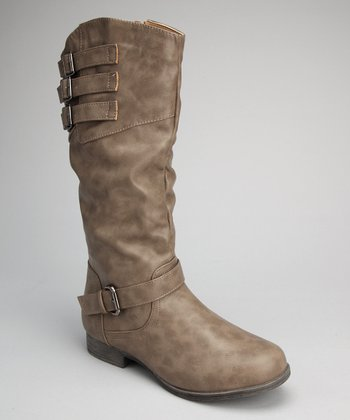 Gray Slouchy Buckle Boot