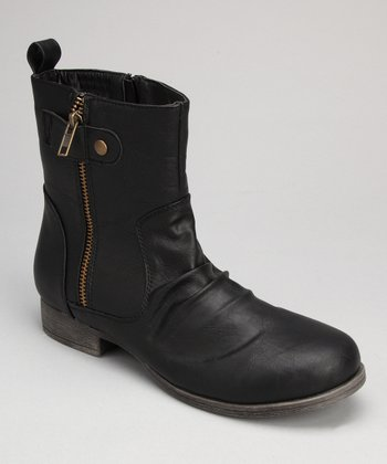Black Zipper Ankle Boot