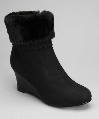 Black Cuff Wedge Boot