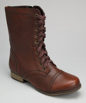 Brown Burnished Lace-Up Boot