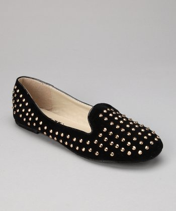 Black Suede Studded Sam Flat
