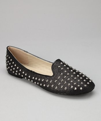 Black Studded Sam Flat