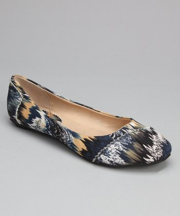Mustard & Blue Abstract Zigzag Ballet Flat