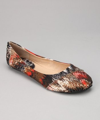 Rust Abstract Zigzag Ballet Flat