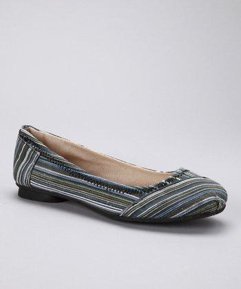 Black Pinstripe Ballet Flat