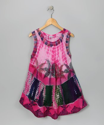 Pink & Navy Art Deco Dress