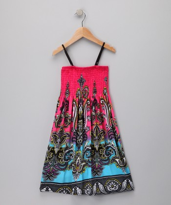 Pink & Turquoise Paisley Convertible Dress