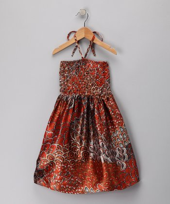 Orange Forest Convertible Halter Dress - Girls