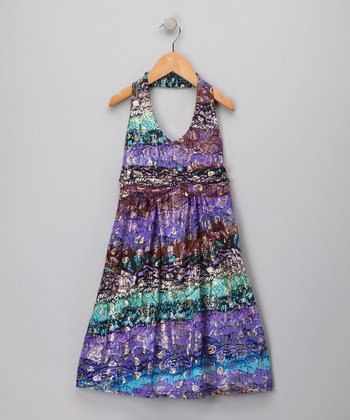 Purple Seashells Halter Dress