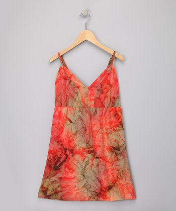 Orange Abstract Dress - Girls