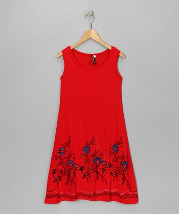 Red Embroidered Shift Dress - Girls