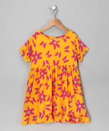 Yellow Floral Short-Sleeve Dress - Girls