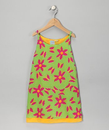Green Floral Swing Dress - Toddler & Girls