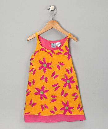 Yellow Floral Swing Dress - Toddler & Girls