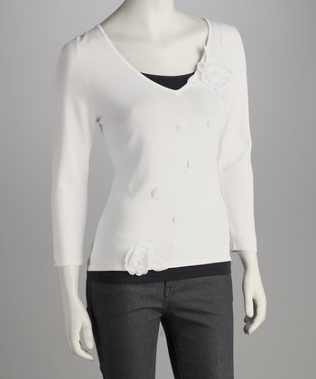 White Blossom V-Neck Top