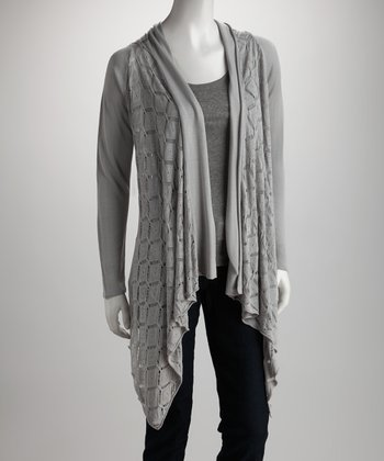 Silver Knit Open Cardigan