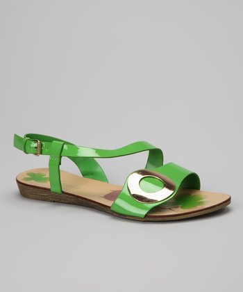 Green Gloss Circle Sandal
